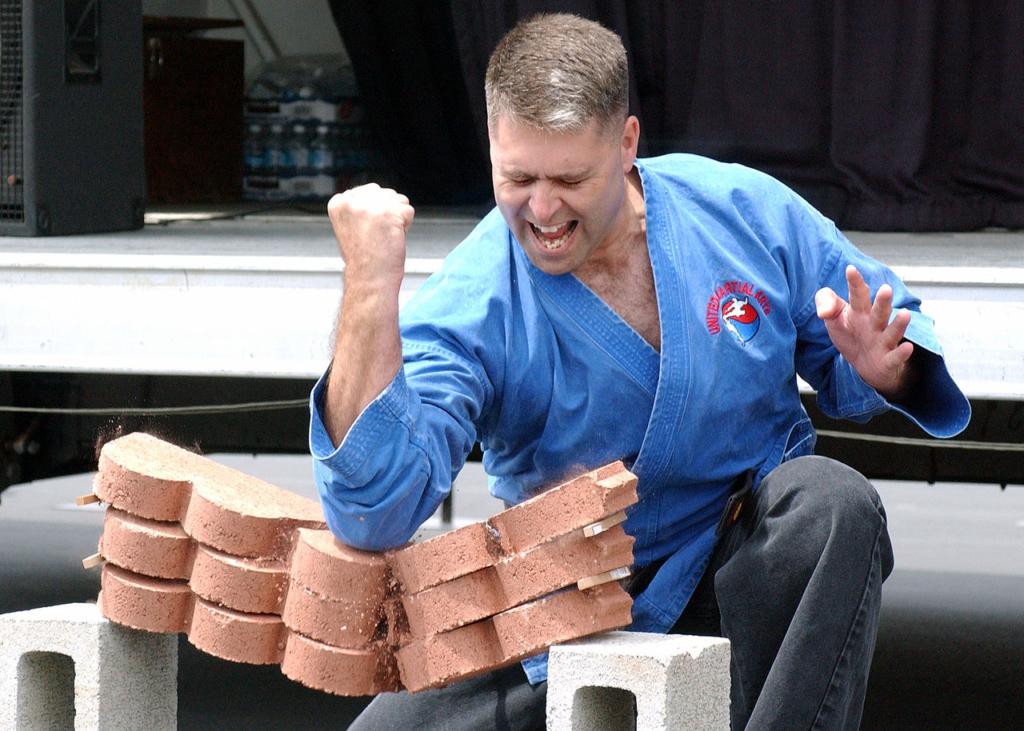 board breaking, brick breaking